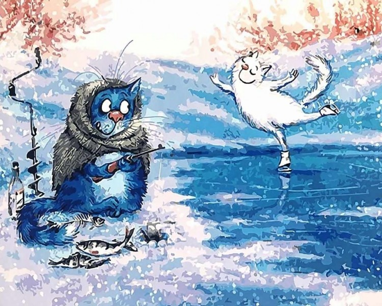 Веселые рисунки котов зимой, летием смешные картинки